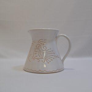 Brocca Con Manico In Ceramica Con Incisione Gallinella Di Artis