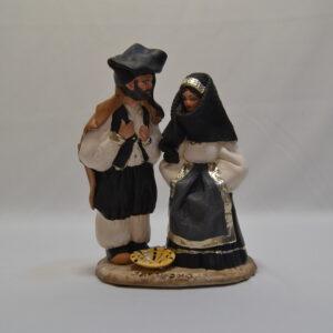 Coppia In Abito Tradizionale In Ceramica Artigianale Sarda Di Sanfilippo